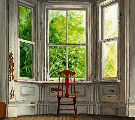 Waiting, Michelle Basic Hendry, chair, window, abandoned house, ruin