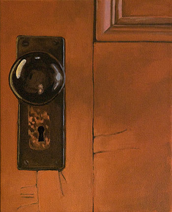 Old door, painting, knob, hendry