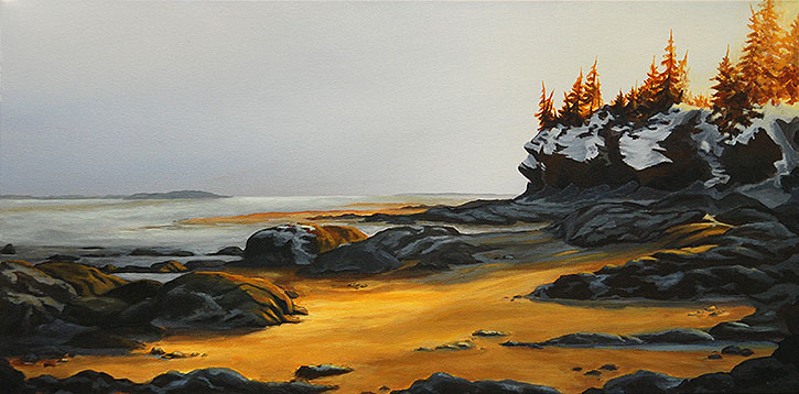 Hopewell - Bay of Fundy, painting, hendry, winter