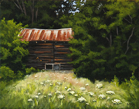 painting, michelle hendry, abandoned house, coopers falls