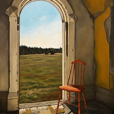 painting, abandoned house, window, michelle hendry, chair, ruin