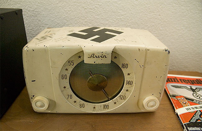 An old radio marked by German P.O.W's during WWII