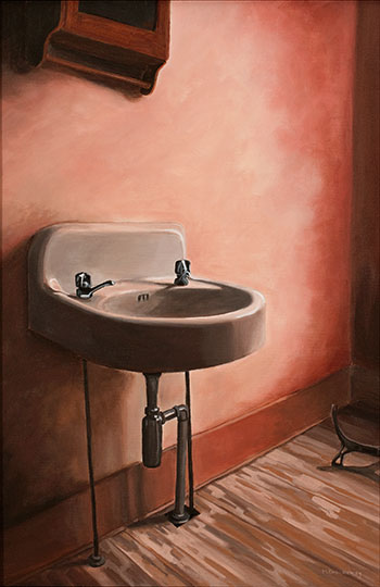 Everything But the Bathroom Sink, acrylic on canvas, 16x24