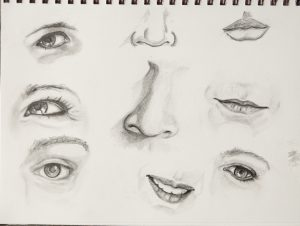 Random eyes, noses and mouths. Click to enlarge