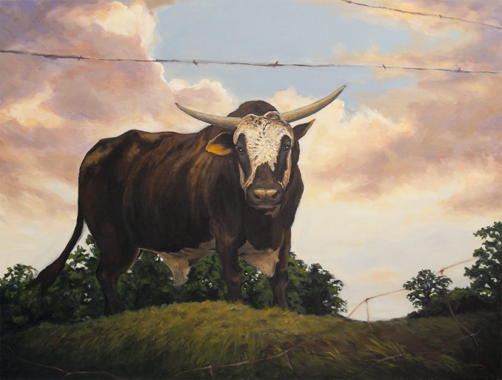 bull, painting, michelle hendry
