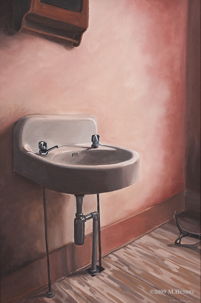 sink, painting, michelle hendry, abandoned house