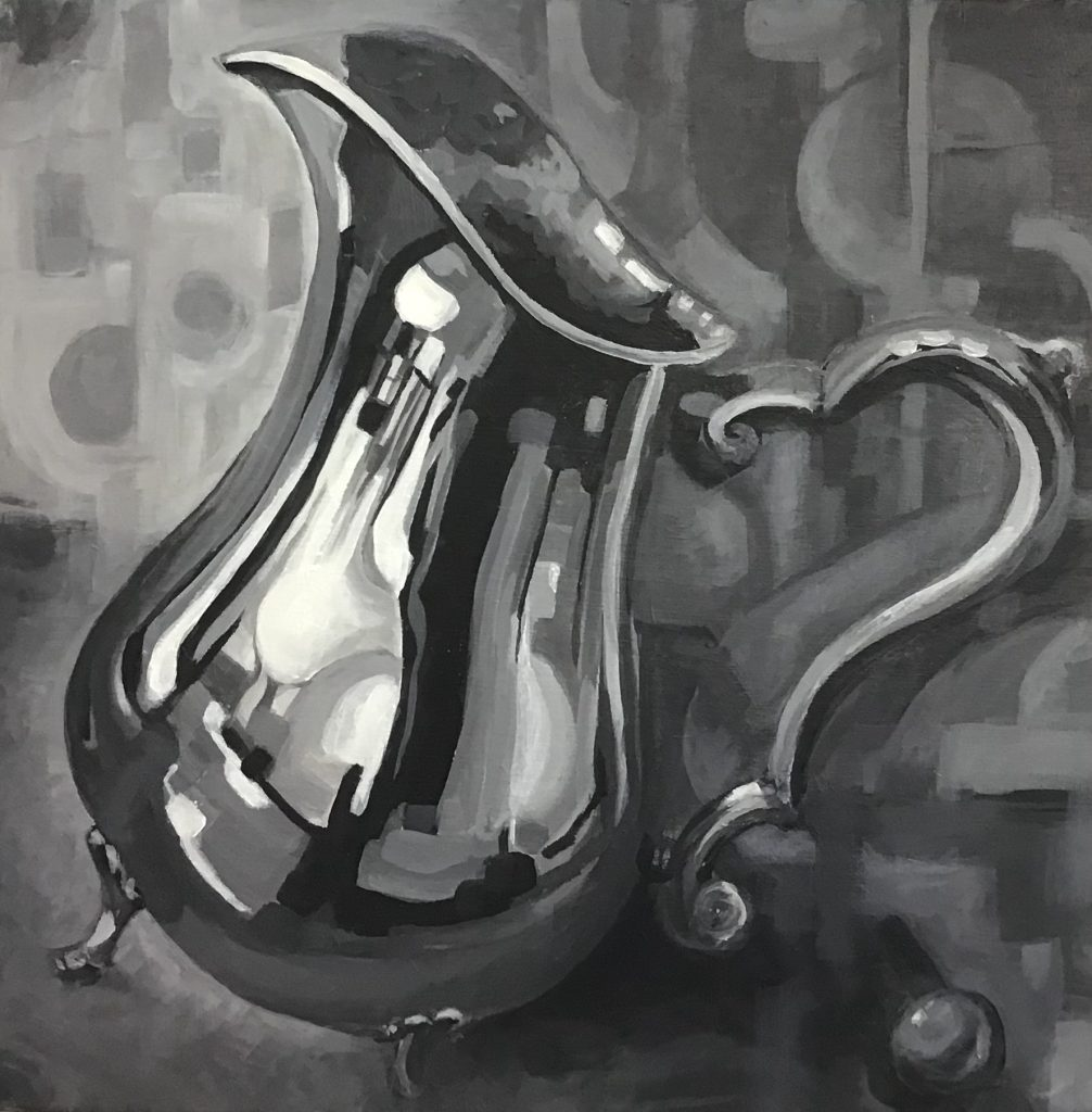 Silver pitcher semi abstract