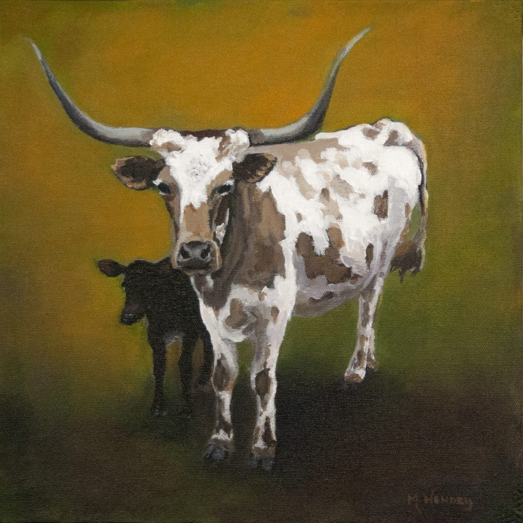 Longhorn and calf painting