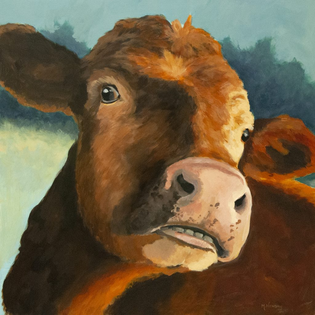 Chatty ginger cow portrait painting