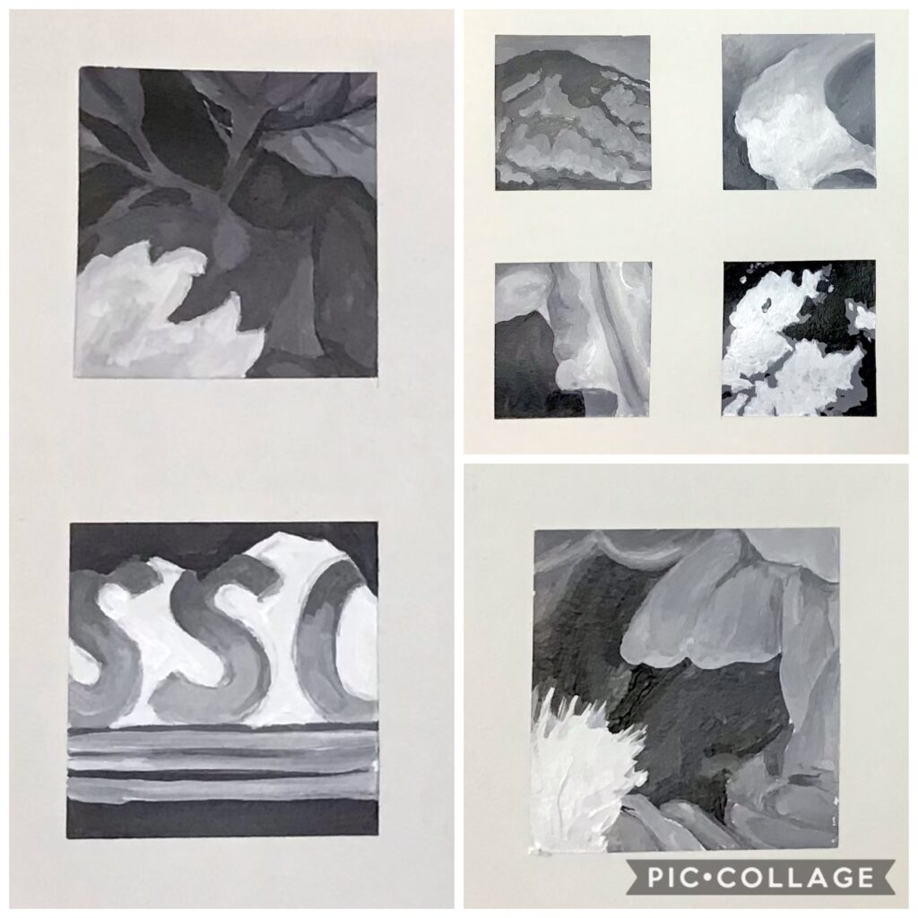 2 inch paintings, black and white, M.Hendry